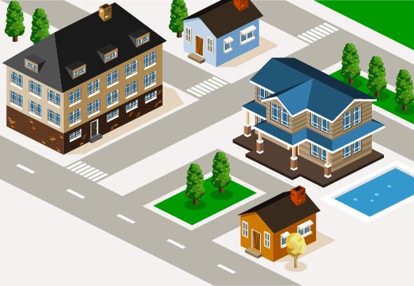 3d city building model vector set Free vector in Adobe