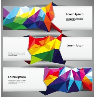 3d colored shapes banners vector set