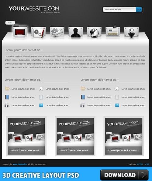3D Creative Layout PSD