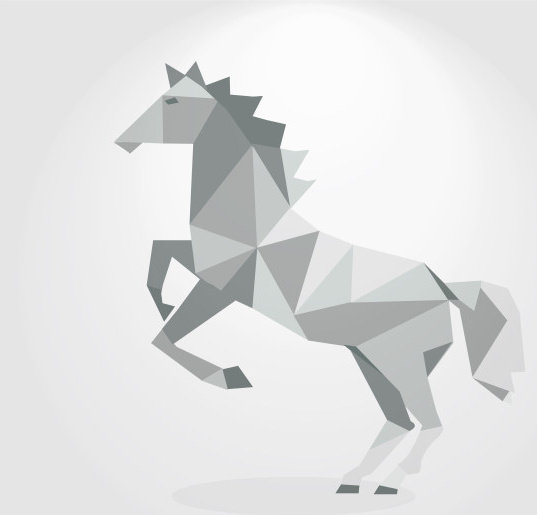 3d Geometric Shapes Horse Creative Vector Free Vector In