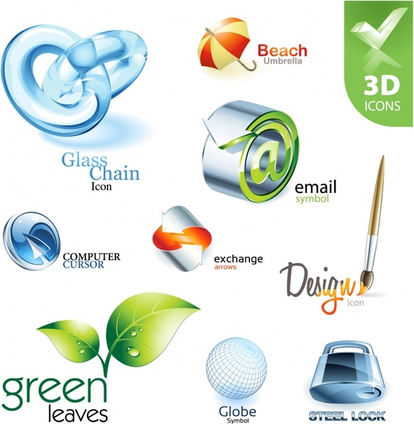 uit icons collection modern colored 3d design