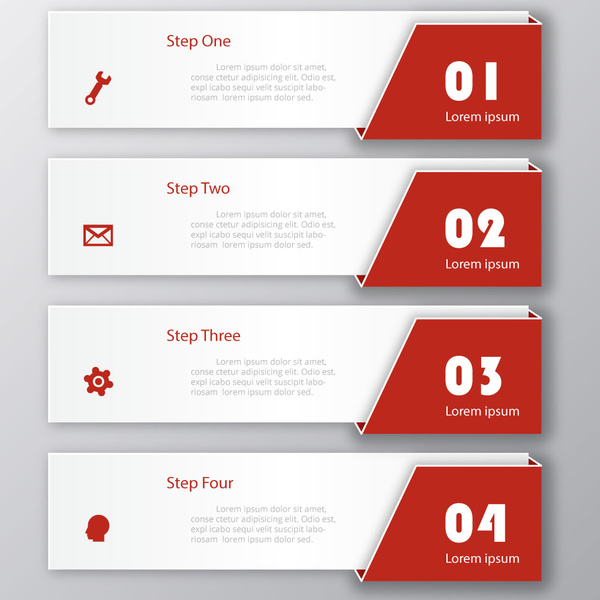 3d infographic design with horizontal banners