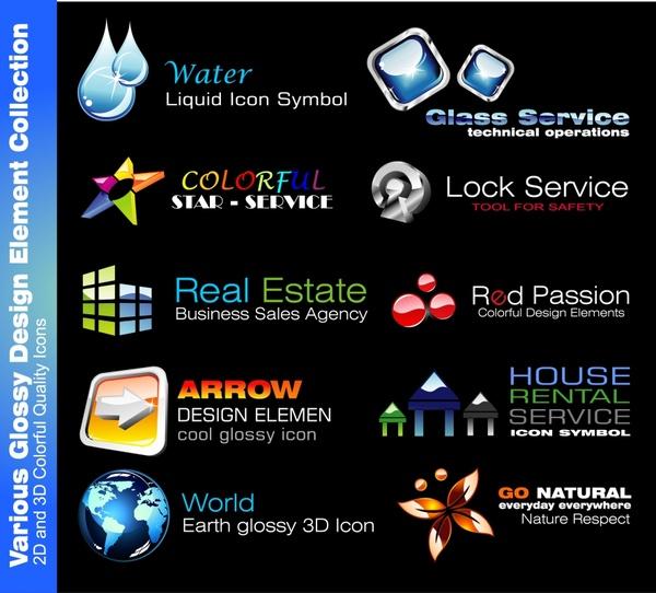 Logotypes Templates Modern Shapes Shiny 2d Design