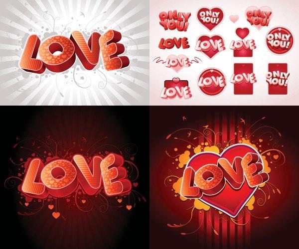 3d love fonts vector