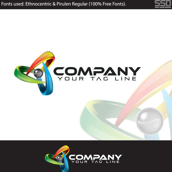 3d professional logo design template Free vector in Adobe ...