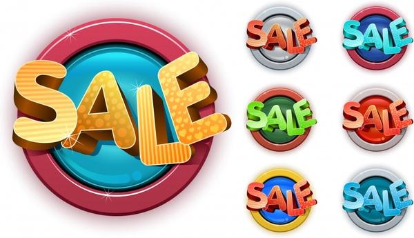 sale labels templates 3d texts shiny circles design