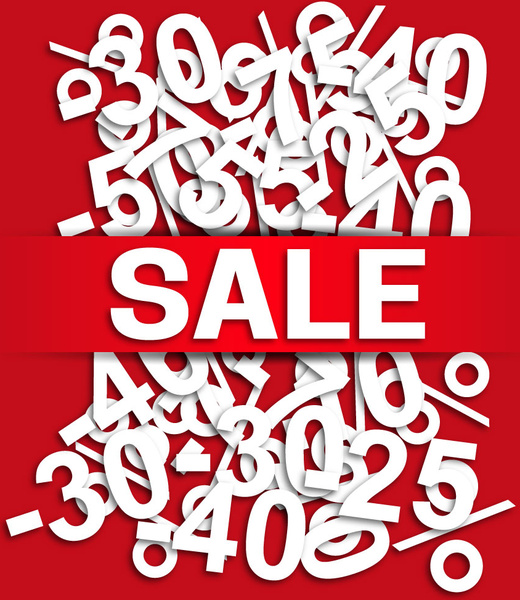 3d sales banner with messy numbers