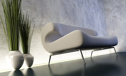 3d sofa with plant decoration stock photo