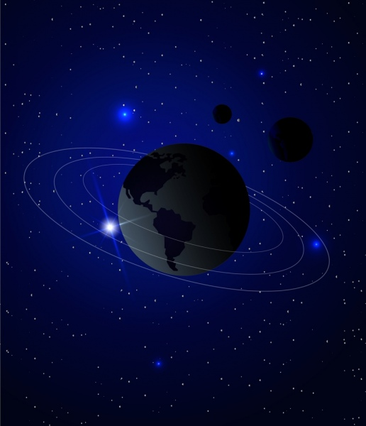 3d space background earth orbit stars decoration