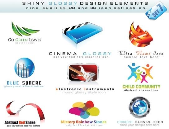 3d style logo template vector nonoriginal works