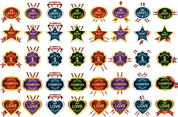 40 honors and awards ribbons medals vector