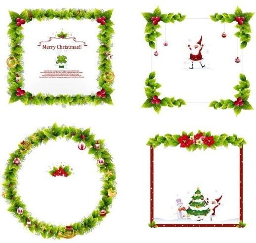 4 Christmas Wreath Border Vector