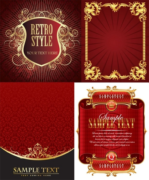 4 european gold lace pattern vector