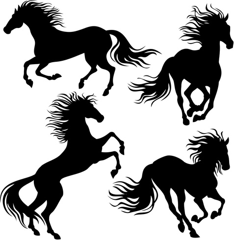 4 kind running horse vector silhouette