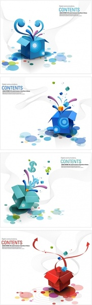 4 open the colorful box vector
