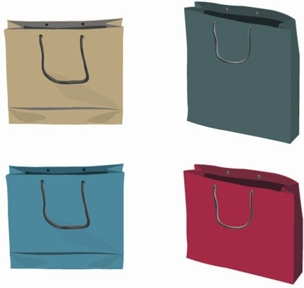 4 Paper Shopping Bags Vector Illustration