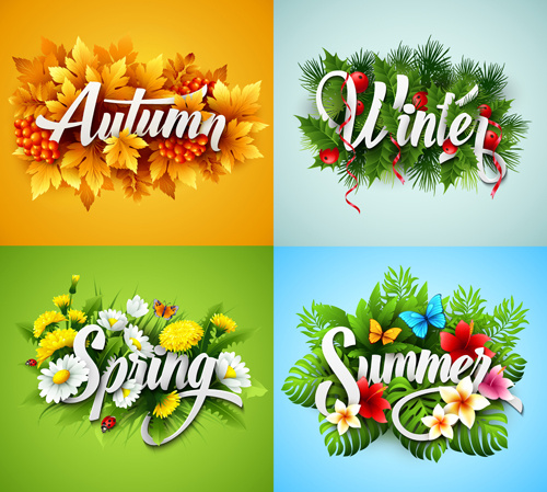 4 seasons beautiful flower labels vector