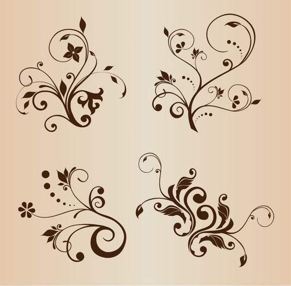 4 swirly floral decorative elements
