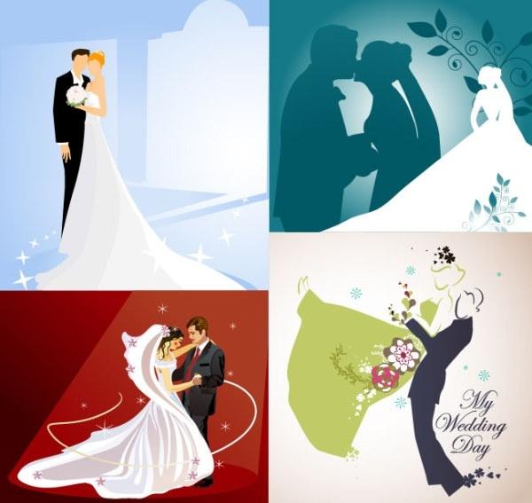 4 wedding wedding theme vector illustrator