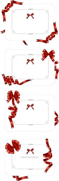4 winding ribbon of blank card vector