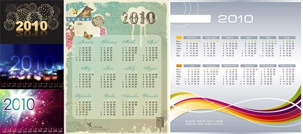 5 2010 calendar vector