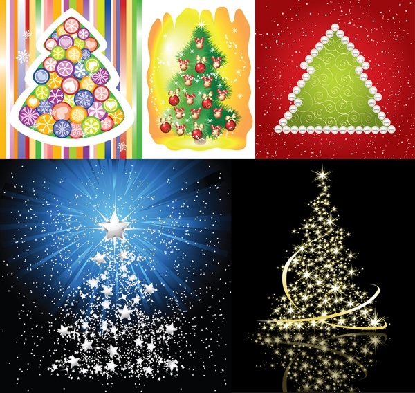 5 beautiful christmas tree vector