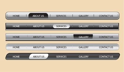 webpage tool bars collection shiny grey horizontal design