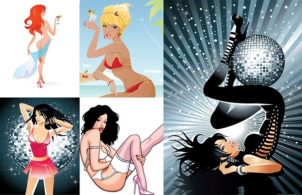 5 charming women vector