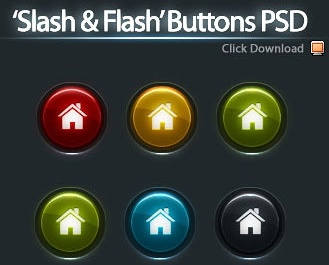 5 Color Buttons PSD
