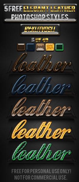 5 free elegant leather photoshop styles