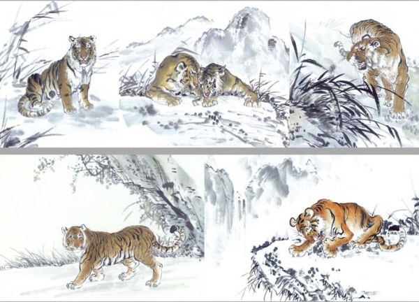 5 ink tiger painting highdefinition picture