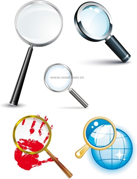 5 magnifying glass vector