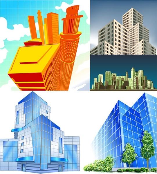 5 office building vector
