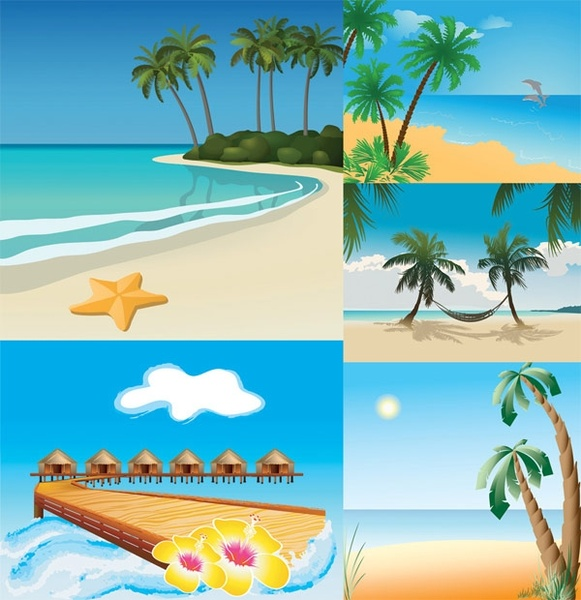 5 seaside scenery vector