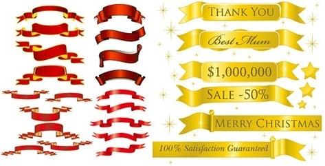 5 sets of festive ribbon banner vector material