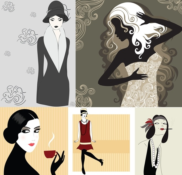 5 woman vector illustration
