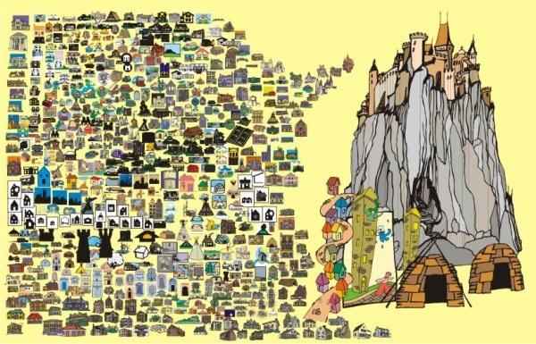 600 balance cartoon house vector