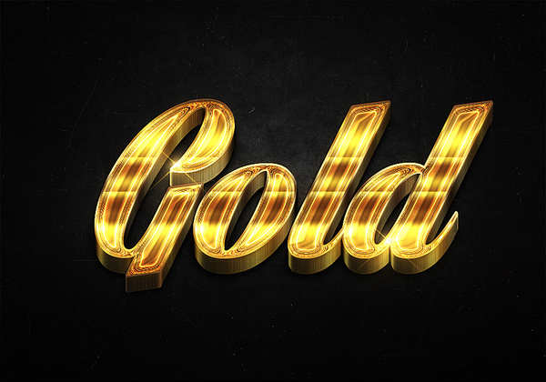 65 3d shiny gold text effects preview