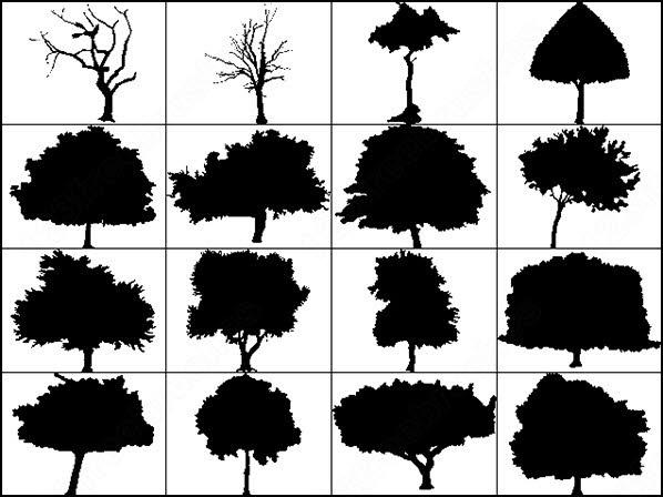 6 big silhouettes tree brush