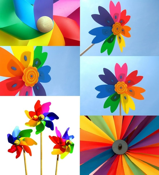 6 colorful windmill hd picture
