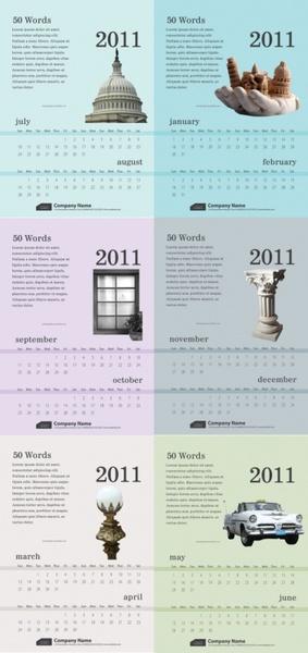 6 exquisite 2011 calendar template vector