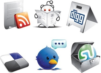 media icons collection various colored types 3d style