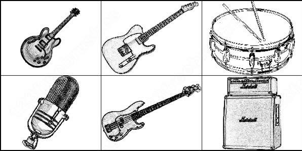 6 musical instruments brush