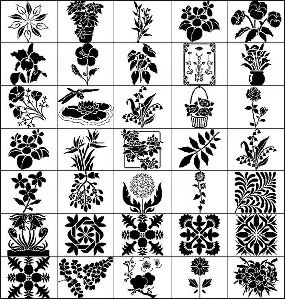 72 large floral deco brush