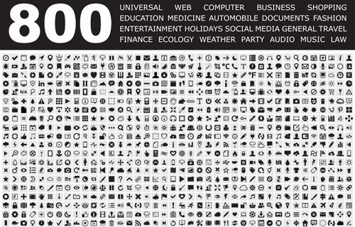 800 small fine web media icons set