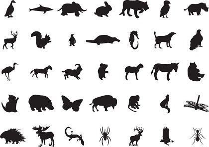 wild animals icons collection black silhouettes sketch