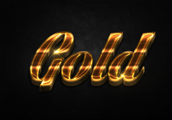 90 3d shiny gold text effects preview