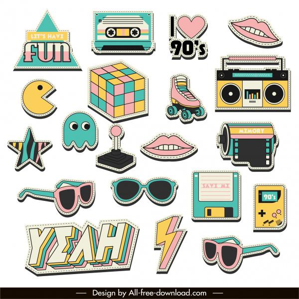 90s Logo Templates Colorful Symbols Sketch Free Vector In