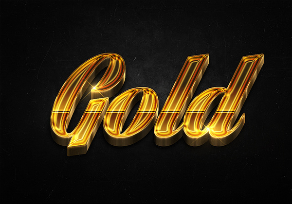 93 3d shiny gold text effects preview