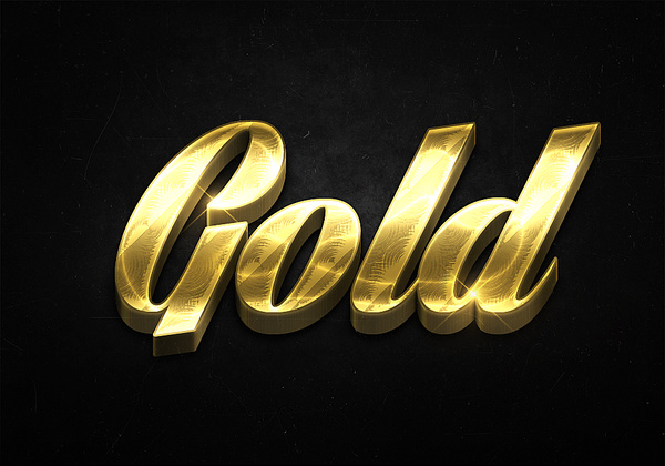 96 3d shiny gold text effects preview